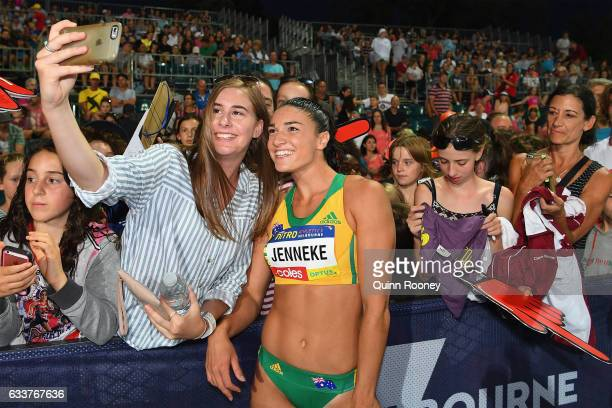 Michelle Jenneke of Australia poses for selfies with fans after competing in the 100 Metre Women's Hurdles during Nitro Athletics at Lakeside Stadium...