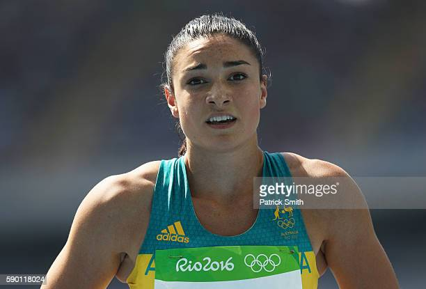 Michelle Jenneke of Australia reacts after competing in the Women's 100m Hurdles Round 1 Heat 2 on Day 11 of the Rio 2016 Olympic Games at the...
