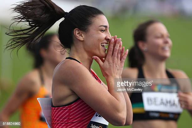 Michelle Jenneke of New South Wales celebrates winning the womens 100m hurdles final during the Australian Athletics Championships at Sydney Olympic...