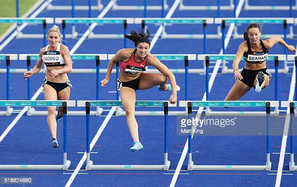 Michelle Jenneke of New South Wales competes in the Women's 100m hurdles final during the Australian Athletics Championships at Sydney Olympic Park...