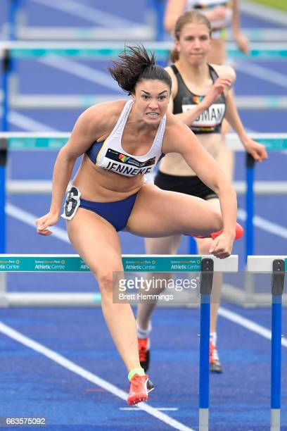 Michelle Jenneke of NSW competes in her Open Womens 100m Hurdles event during day eight of the 2017 Australian Athletics Championships at Sydney...