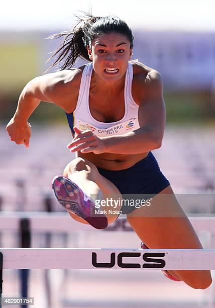 Michelle Jenneke of NSW competes in the womens 100 metre hurdle during the 2015 Canberra Track Classic on February 7 2015 in Canberra Australia