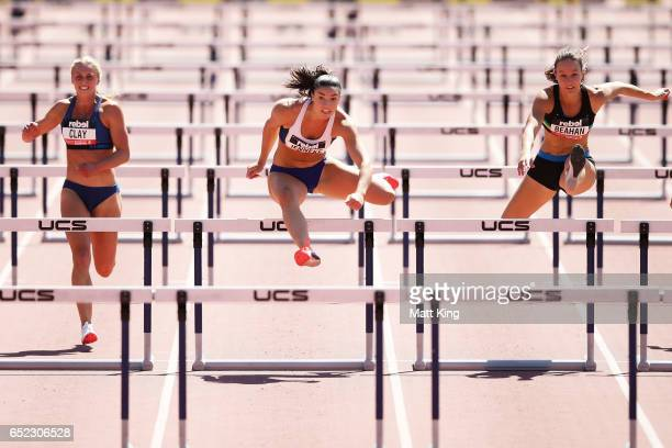 Michelle Jenneke of NSW competes in the Women's 100m Hurdles during the SUMMERofATHS Grand Prix on March 12 2017 in Canberra Australia
