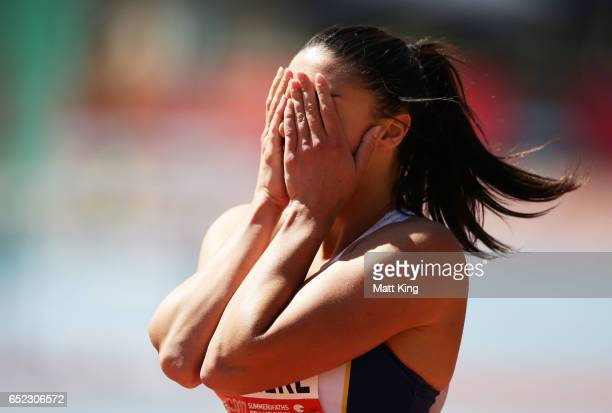 Michelle Jenneke of NSW reacts after winning the Women's 100m Hurdles during the SUMMERofATHS Grand Prix on March 12 2017 in Canberra Australia