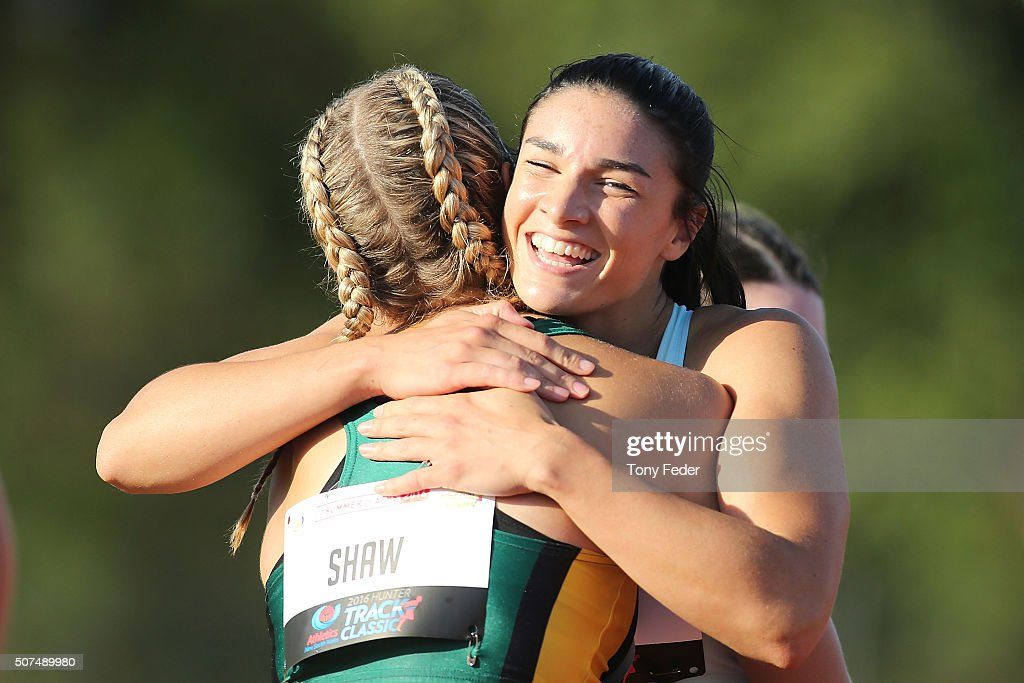 Tennyson (NSW) Australia  City pictures : Michelle Jenneke of NSW wins the womens 110m hurdles and hugs a fellow ...