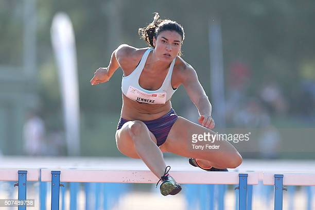 Michelle Jenneke of NSW wins the womens 110m hurdles during the 2016 Hunter Track Classic on January 30 2016 in Newcastle Australia