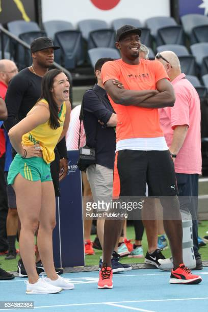 Michelle Jenneke shares a laugh with Usain Bolt on night 2 of Nitro Athletics on February 9 2017 in Melbourne Australia Chris Putnam / Barcroft...