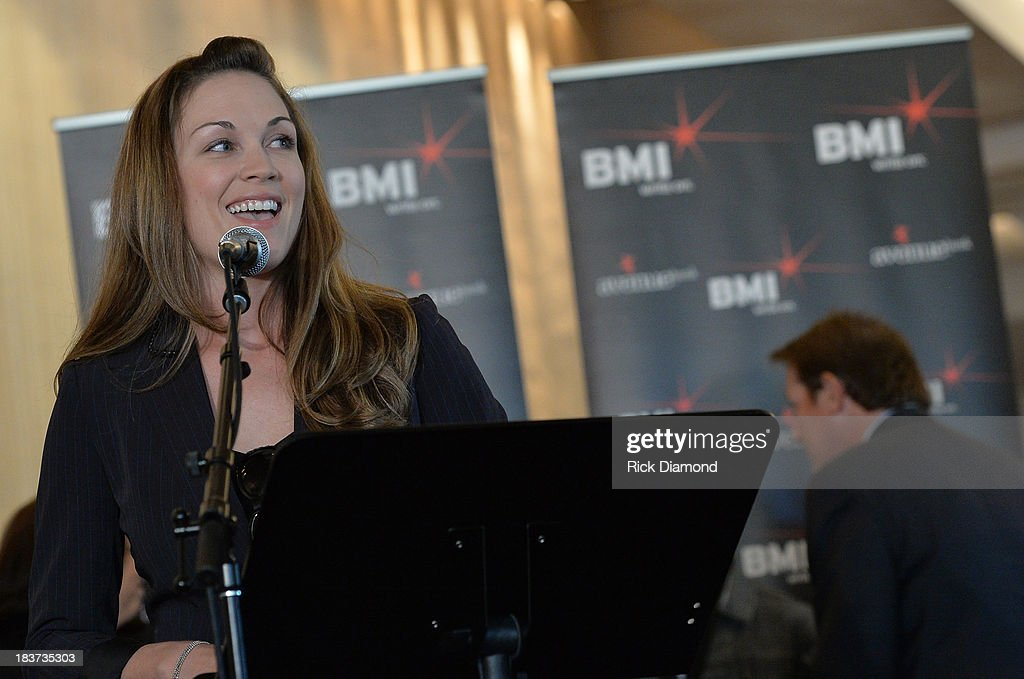 Michelle Kammerer CRS speaks as BMI and Hunter Hayes Celebrate the No. 1 Song 'I Want Crazy' at BMI offices In Nashville on October 8, 2013 in Nashville, Tennessee.
