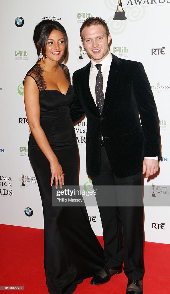 Michelle Keegan and Chris Fountain appear in the Press Room at the Irish Film and Television Awards at the Convention Centre Dublin on February 9, 2013 in Dublin, Ireland.