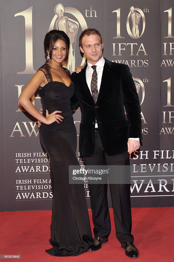 Michelle Keegan and Chris Fountain attends the Irish Film and Television Awards at Convention Centre Dublin on February 9, 2013 in Dublin, Ireland.
