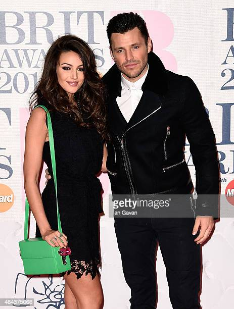 Michelle Keegan and Mark Wright attend the BRIT Awards 2015 at The O2 Arena on February 25 2015 in London England