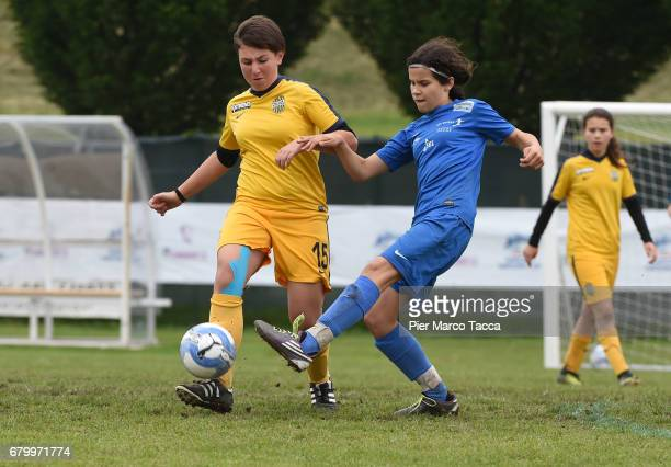 Michelle Klammsteiner of SSV Brixen obi Women Under 12 competes for the ball with Giulia Romano of Hellas Verona Women Under 12 during the match...