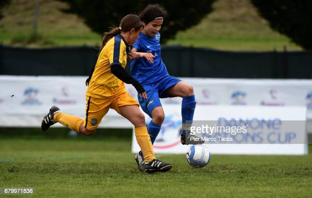 Michelle Klammsteiner of SSV Brixen obi Women Under 12 competes for the ball with Sara Corsi of Hellas Verona Women Under 12 during the match between...