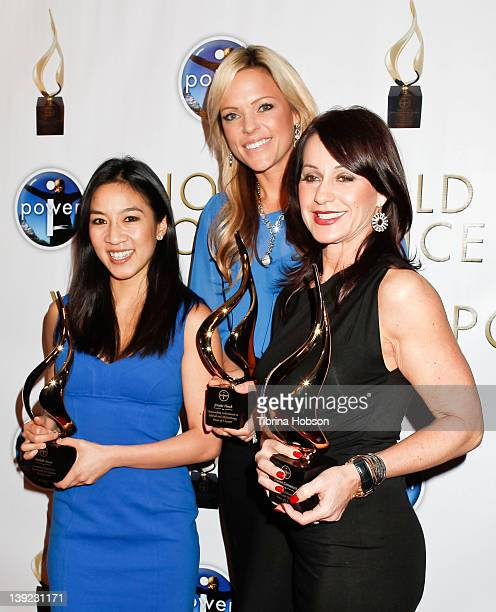 Michelle Kwan Jennie Finch and Nadia Comaneci attend the 'Power Of I' celebrating women and sport gala dinner at LA Live on February 17 2012 in Los...