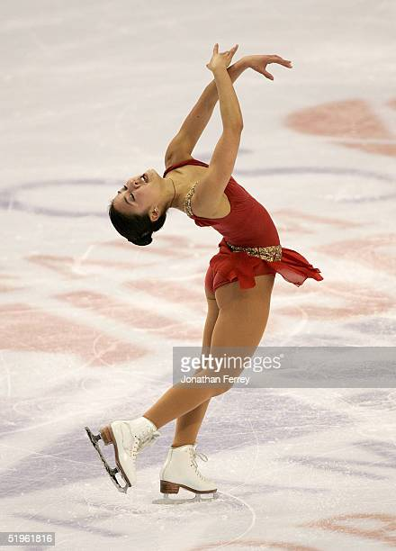 Michelle Kwan skates while competing in the women's short program during the State Farm US Figure Skating Championships at the Rose Garden on January...