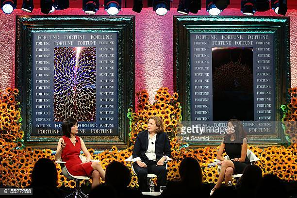 Michelle Lee Megan Smith and Michal LevRam speak onstage at the Fortune Most Powerful Women Summit 2016 at RitzCarlton Laguna Niguel on October 18...