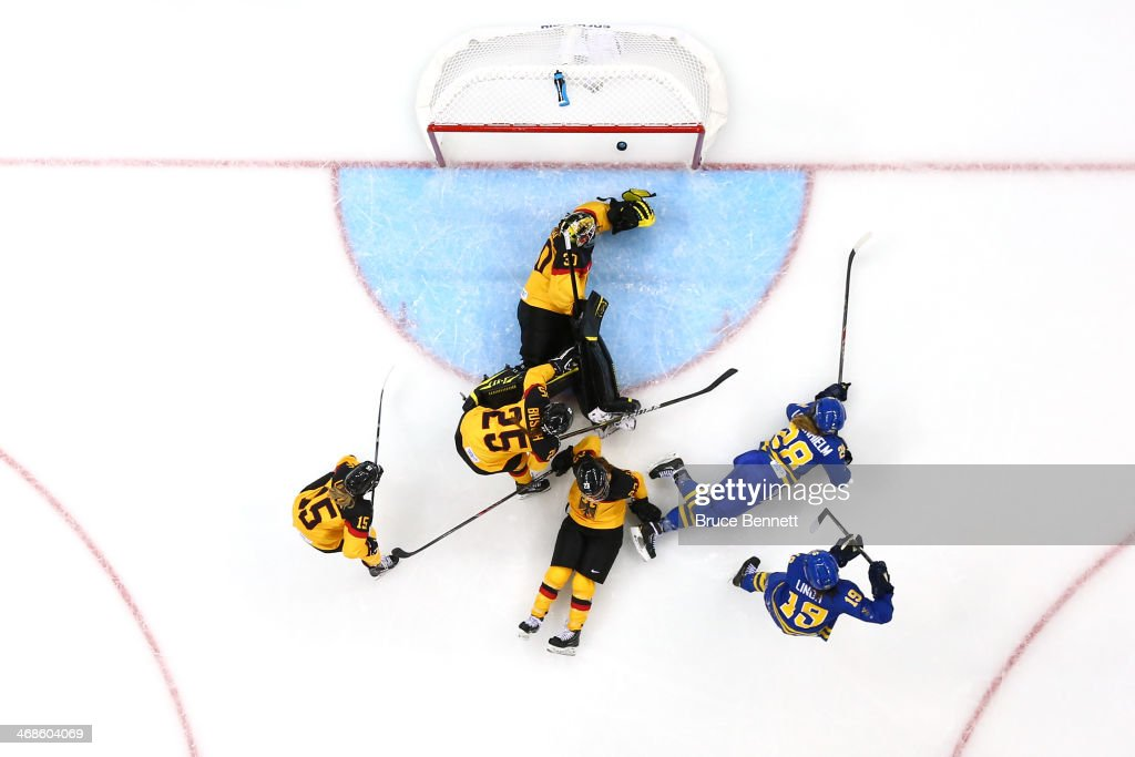 Michelle Lowenhielm #28 of Sweden scores the third goal against Germany in the third period during the Women's Ice Hockey Preliminary Round Group B game on day four of the Sochi 2014 Winter Olympics at Shayba Arena on February 11, 2014 in Sochi, Russia.