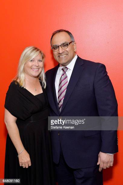 Michelle Lund and Ravi Rajan attend 2017 REDCAT Gala Honoring Janet Dreisen Rappaport and John Baldessari on March 4 2017 in Los Angeles California