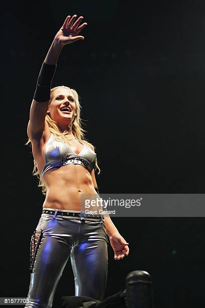Michelle McCool waves to the fans during WWE Smackdown at Acer Arena on June 15 2008 in Sydney Australia