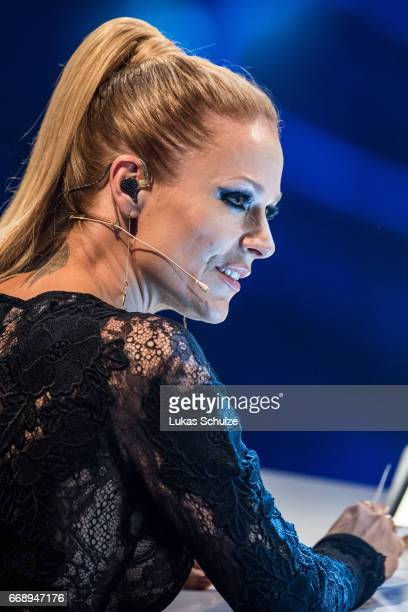 Michelle member of the jury performs during the second event show of the tv competition 'Deutschland sucht den Superstar' at Coloneum on April 15...