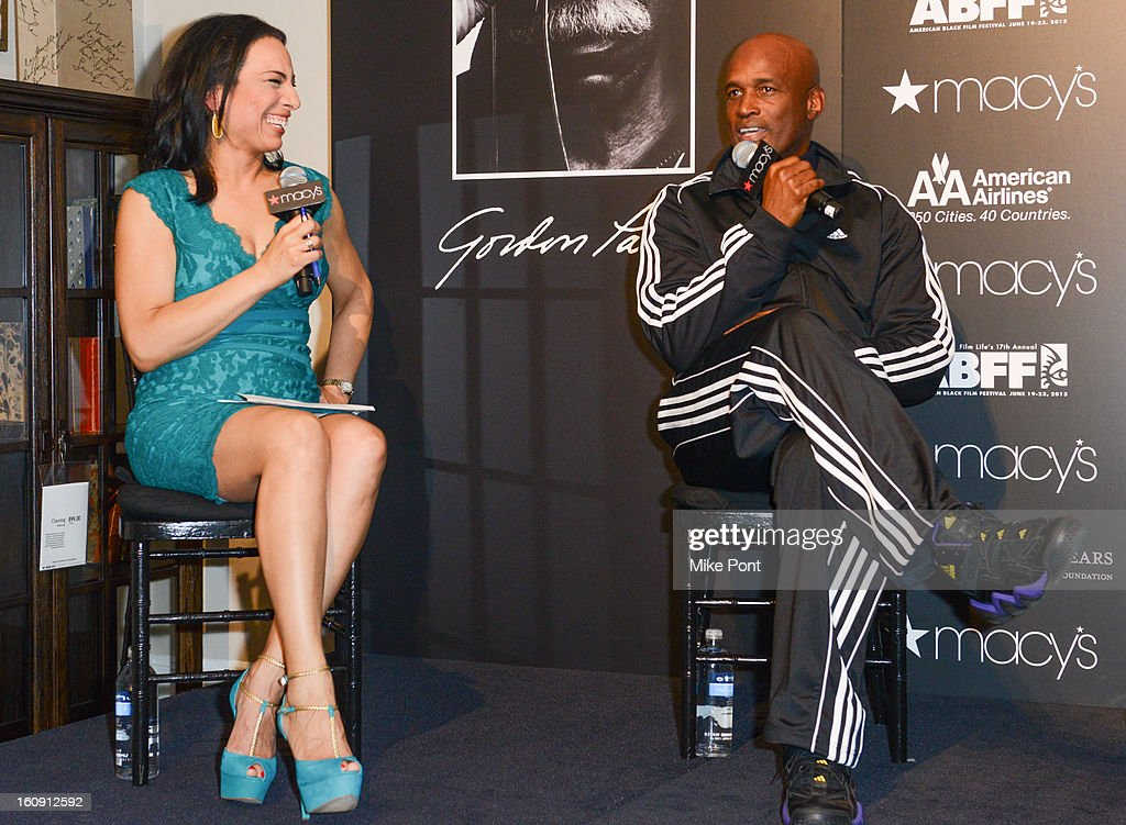 Michelle Miller and <a gi-track='captionPersonalityLinkClicked' href=/galleries/search?phrase=Kenny+Leon&family=editorial&specificpeople=234439 ng-click='$event.stopPropagation()'>Kenny Leon</a> attend Macy's hosts 'In Conversation' honoring Gordon Parks at Macy's Herald Square on February 7, 2013 in New York City.