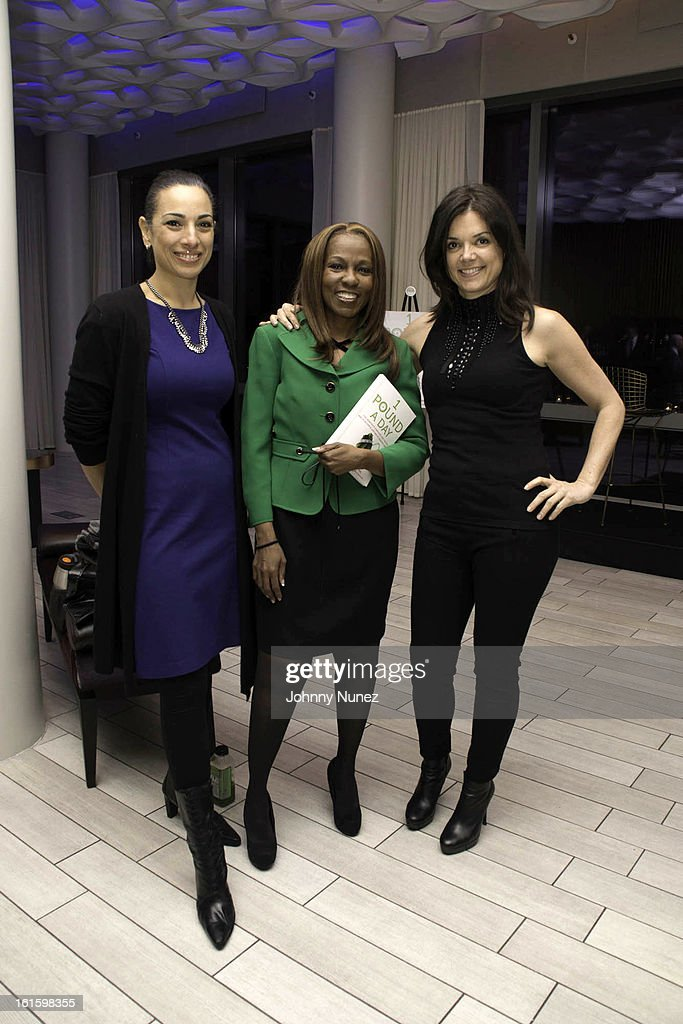 Michelle Miller, Roni DeLuz, and Flavie Bagnol attend the '1 Pound A Day: Martha's Vineyard Diet Detox' Pre-Launch Book Party at Trump SoHo on February 11, 2013 in New York City.