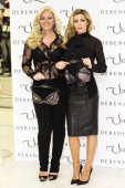 Michelle Monecoowner of Ultimo and Abbey Clancy launch the new Ultimo Valentines Collection at Debenhams on February 11 2014 in London England