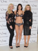 Michelle Monecoowner of Ultimo and Abbey Clancy launche the new Ultimo Valentines Collection at Debenhams on February 11 2014 in London England