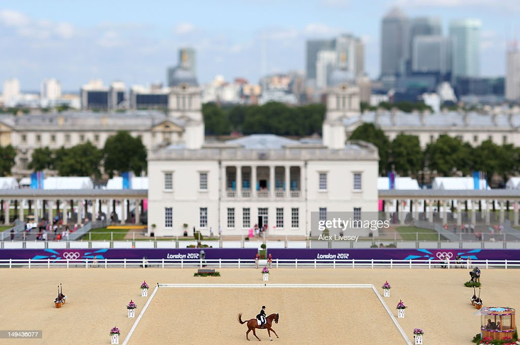 Michelle Mueller of Canada riding Amistad competes in the Dressage Equestrian event on Day 1 of the London 2012 Olympic Games at Greenwich Park on July 28, 2012 in London, England.