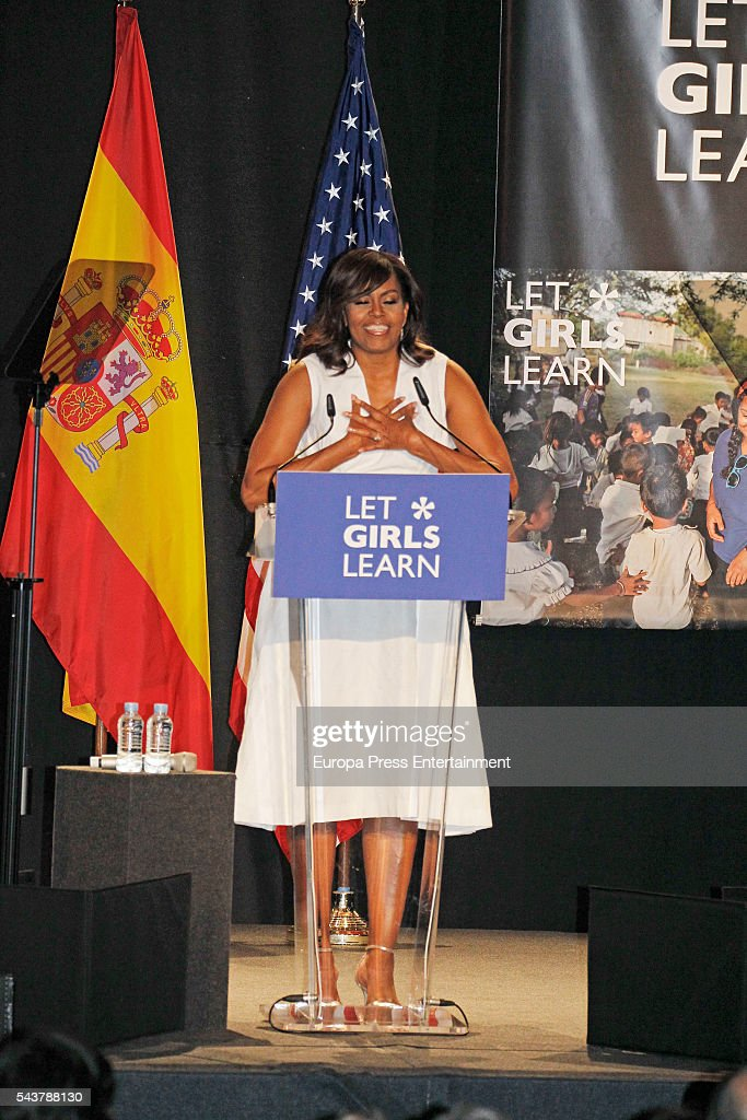 <a gi-track='captionPersonalityLinkClicked' href=/galleries/search?phrase=Michelle+Obama&family=editorial&specificpeople=2528864 ng-click='$event.stopPropagation()'>Michelle Obama</a> attends the presentation of 'Let Girls Learn' on June 30, 2016 in Madrid, Spain. In this initiative <a gi-track='captionPersonalityLinkClicked' href=/galleries/search?phrase=Michelle+Obama&family=editorial&specificpeople=2528864 ng-click='$event.stopPropagation()'>Michelle Obama</a> shares the stories of girls she has met in her prior travels and highlights new commitments to support 'Let Girls Learn'. Mrs. Obama encourage the audience to value their own educational opportunities, continue to strive for progress for girls and young women in their country, and take action to help the more than 62 million girls around the world who are out of school.