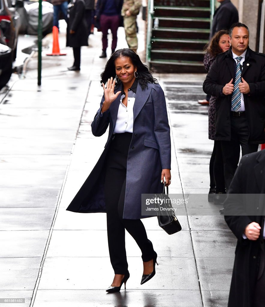 Michelle Obama leaves Upland restaurant on March 10, 2017 in New York City.