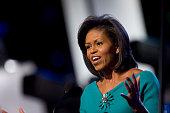 Michelle Obama wife of Democratic presidential candidate US Sen Barack Obama addresses the 2008 Democratic National Convention in Denver Colorado