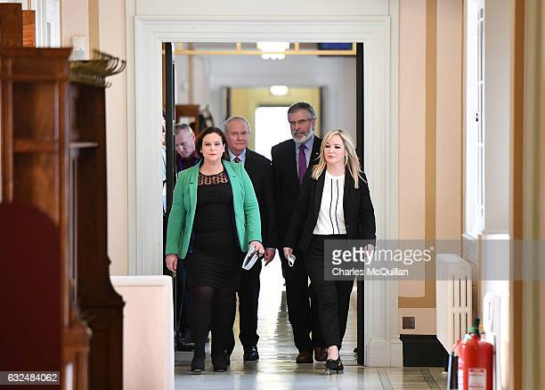 Michelle O'Neill arrives as the new Sinn Fein leader in the north at a Stormont announcement press conference alongside Martin McGuinness Sinn Fein...