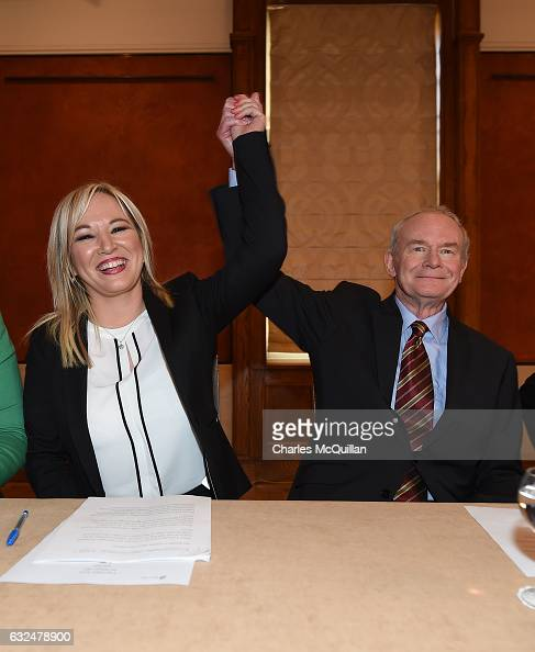 Michelle O'Neill is unveiled as the new Sinn Fein leader in the north at a Stormont announcement press conference alongside Martin McGuinness on...