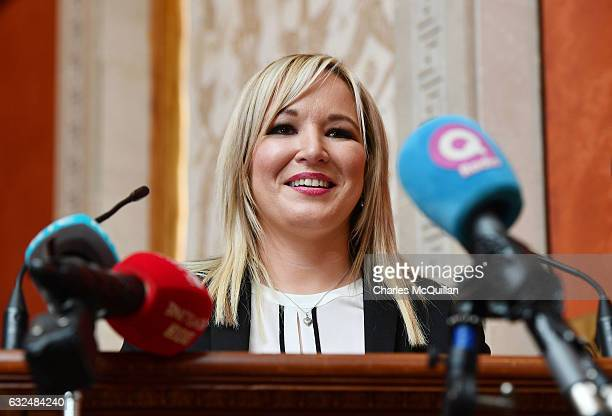 Michelle O'Neill is unveiled as the new Sinn Fein leader in the north at a Stormont announcement press conference on January 23 2017 in Belfast...