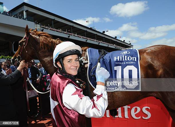 Michelle Payne after riding Palentino to win race 4 the Hilton Hotels Resorts Stakes on Stakes Day at Flemington Racecourse on November 7 2015 in...