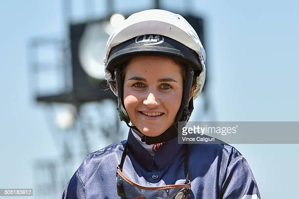 Michelle Payne after riding Pattern to win Race 3 during Melbourne Racing at Flemington Racecourse on January 16 2016 in Melbourne Australia