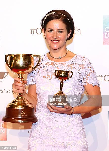 Michelle Payne Australian jockey poses a day after she won the 2015 Melbourne Cup riding Prince of Penzance and becoming the first female jockey to...
