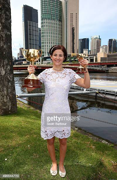 Michelle Payne Australian jockey poses after she won the 2015 Melbourne Cup riding Prince of Penzance and becoming the first female jockey to win the...