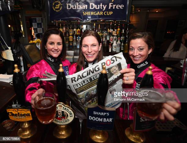 Michelle Payne Captain EmmaJayne Wilson and Hayley Turner during The Dubai Duty Free Shergar Cup Press event at The Sydney Arms London on August 10...