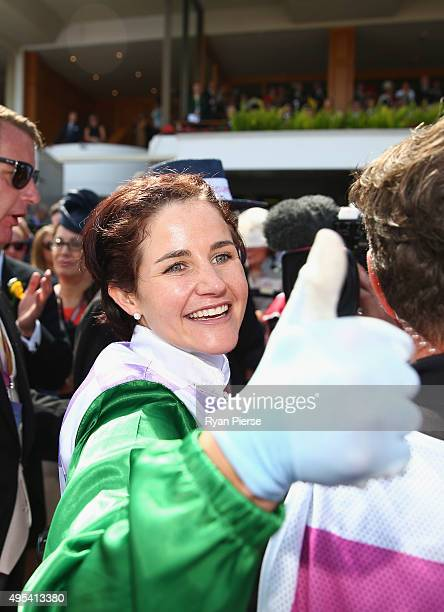 Michelle Payne celebrates after riding Prince of Penzance to win race seven The Emirates Melbourne Cup on Melbourne Cup Day at Flemington Racecourse...