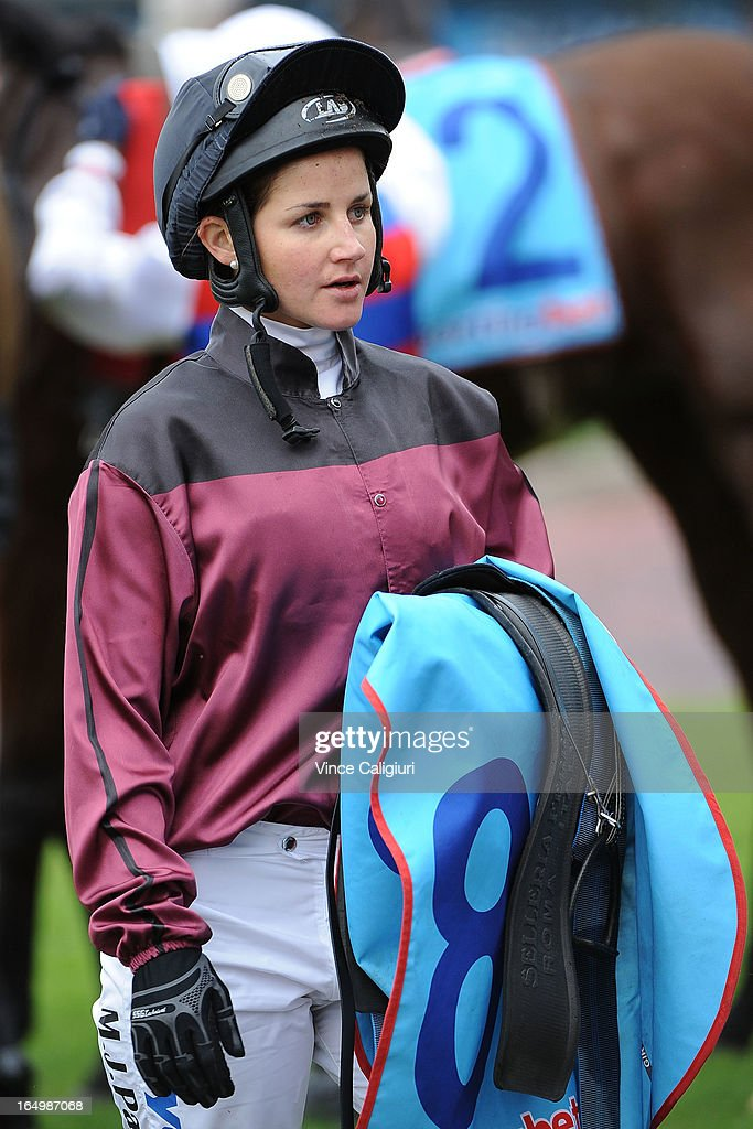 <a gi-track='captionPersonalityLinkClicked' href=/galleries/search?phrase=Michelle+Payne&family=editorial&specificpeople=2296250 ng-click='$event.stopPropagation()'>Michelle Payne</a> during Melbourne Racing at Caulfield Racecourse on March 30, 2013 in Melbourne, Australia.