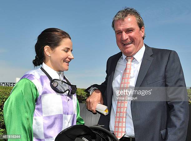 Michelle Payne poses with trainer Darren Weir after the win of Prince of Penzance in Race 5 The Racingcom Moonee Valley Gold Cup during Cox Plate Day...