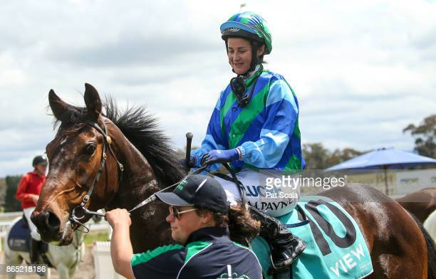 Michelle Payne returns to the mounting yard on Jukila after winning Melbourne Parkview Hotel Maiden Plateat Stawell Racecourse on October 23 2017 in...