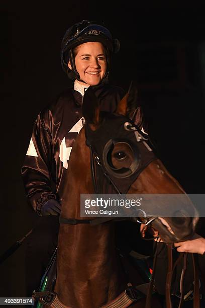 Michelle Payne riding Ecuador during the Cox Plate Breakfast With The Stars gallops at Moonee Valley Racecourse on October 20 2015 in Melbourne...