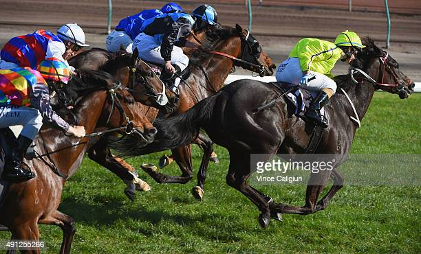Michelle Payne riding La Passe winning Race 8 the Blazer Stakes during Turnbull Stakes Day at Flemington Racecourse on October 4 2015 in Melbourne...