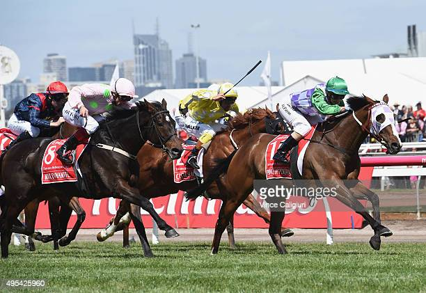 Michelle Payne riding Prince of Penzance defeats Frankie Dettori riding Max Dynamite and Michael Walker riding Criterion in race 7 the Emirates...