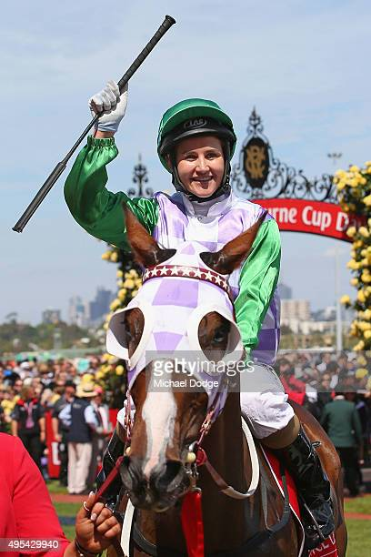 Michelle Payne riding Prince Of Penzance returns to scale after winning race 7 the Emirates Melbourne Cup on Melbourne Cup Day at Flemington...