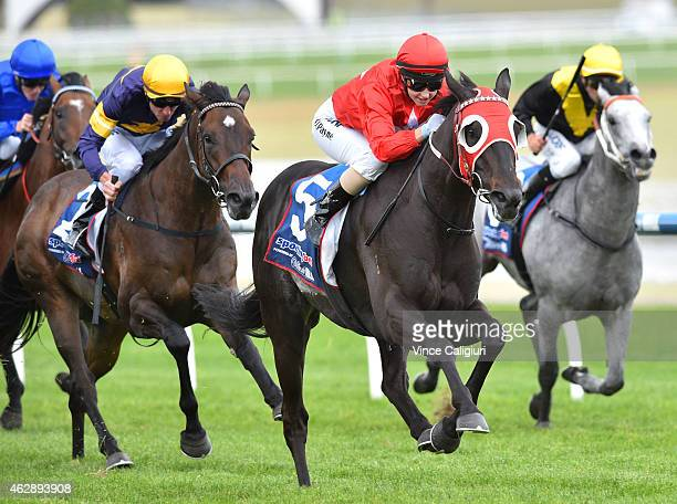 Michelle Payne riding Profit Share wins Race 7 the William Hill Plate during Melbourne Racing at Sandown on February 7 2015 in Melbourne Australia