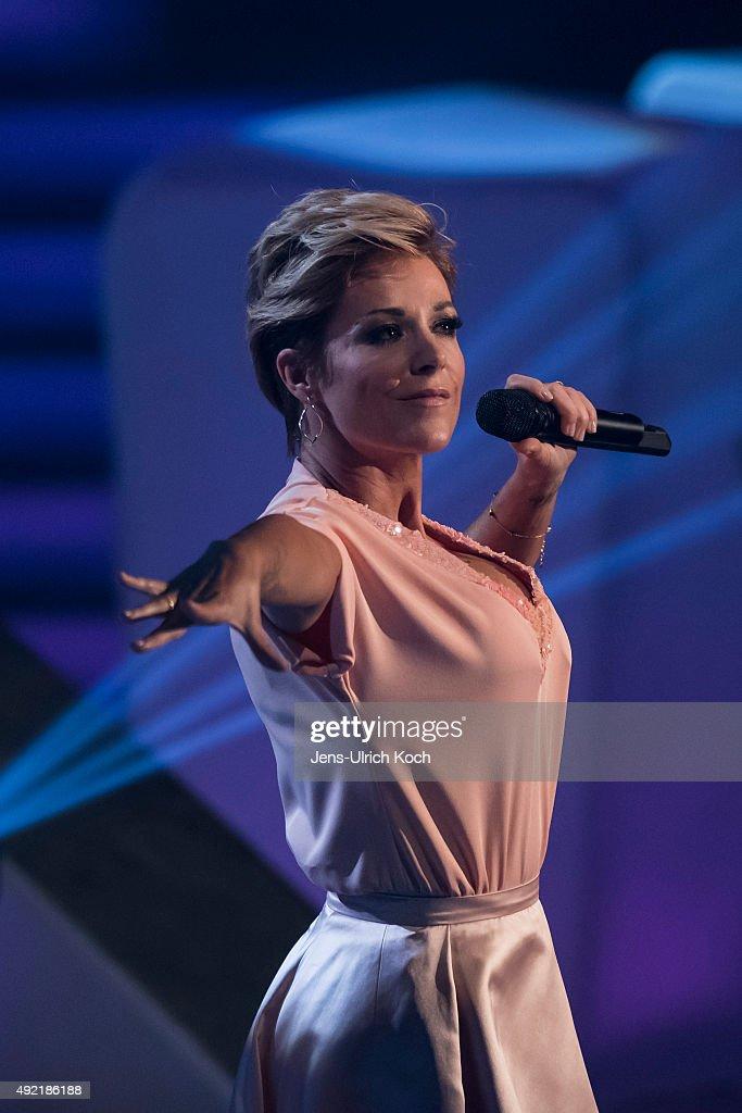 Michelle performs during the tv show '150 Jahre Schlager Das Grosse Fest Zum Jubilaeum' at Messe Erfurt on October 10 2015 in Erfurt Germany